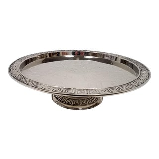 Greek Style Nickel Cake Plate For Sale