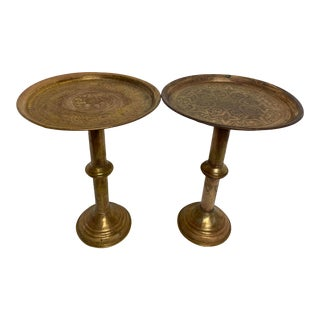 Vintage Egyptian Brass Engraved Pedestal Tables - a Pair For Sale