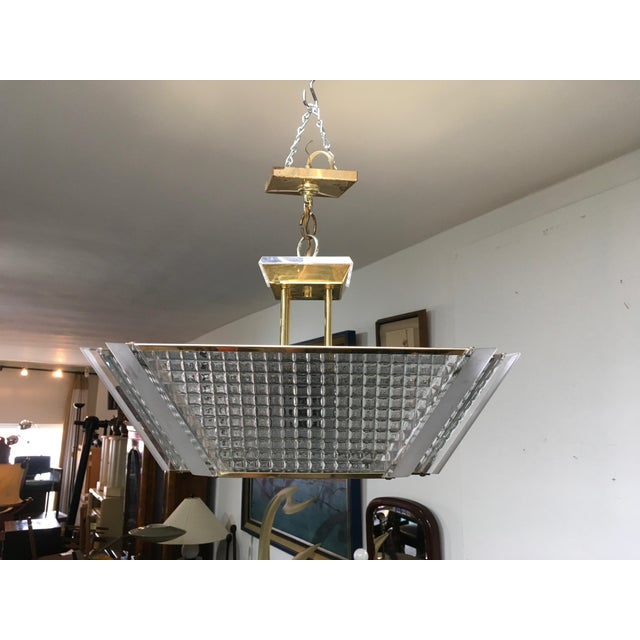 Fredrick Ramond Fredrick Ramond Post Modern Square Brass & Glass Chandelier For Sale - Image 4 of 11