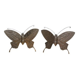 Mid-Century Brass Butterfly Wall Decor - a Pair For Sale
