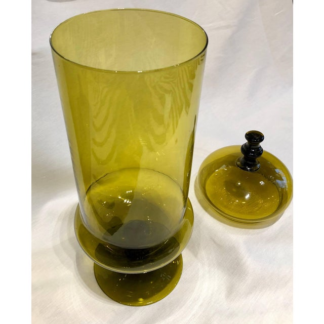 Mid-Century Modern 1970s Vintage Olive Color Glass Jar With Lid For Sale - Image 3 of 5