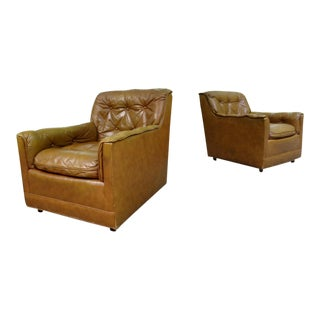 1970's Drexel Heritage Brown Tufted Leather Club Lounge Chairs ~ a Pair For Sale