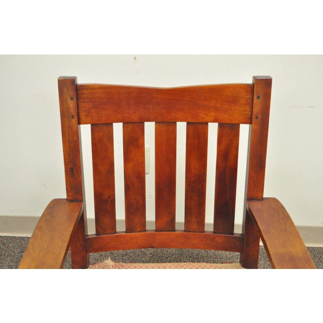 Antique Solid Maple Mission Arts & Crafts Rocker Rocking Chair Stickley Era - Image 4 of 10