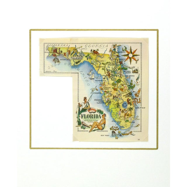 Mid-Century Modern Vintage 1946 Florida Pictorial Map Frame-Ready For Sale - Image 3 of 4