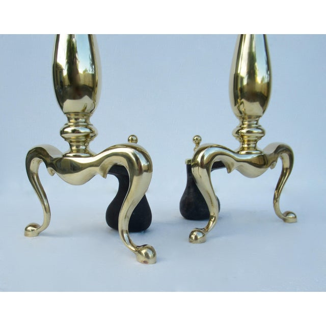 Gold C1970s Vintage American Regency Brass Claw-Footed Andirons - a Pair For Sale - Image 8 of 13
