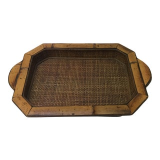 Vintage Bamboo Artisanal Serving Decorative Tray With Handles