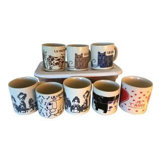 1970s Taylor & Ng Vintage Coffee Mugs - Set of 8 For Sale