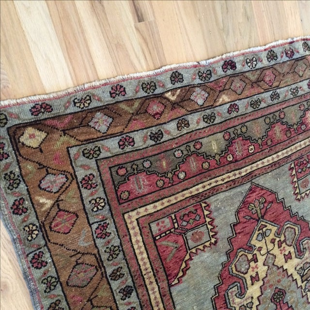 "Antique Turkish Blue & Red Rug - 4' x 5'9"" - Image 7 of 7"