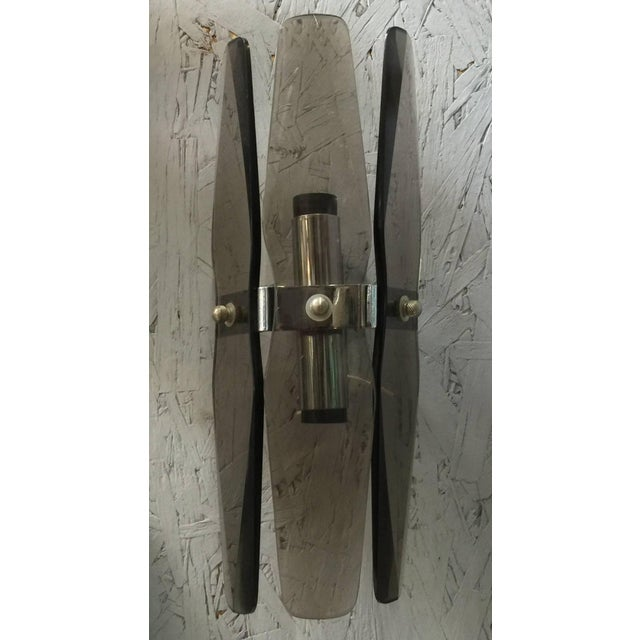 Art Deco Smoky Beveled Glass Sconces by Veca - a Pair For Sale - Image 3 of 7