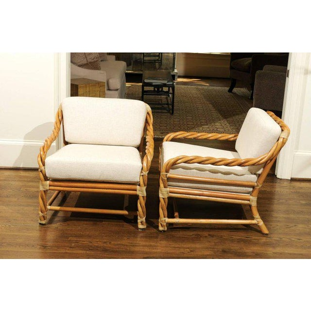 1980s Pair of Restored Braided Rattan Loungers by McGuire For Sale In Atlanta - Image 6 of 11