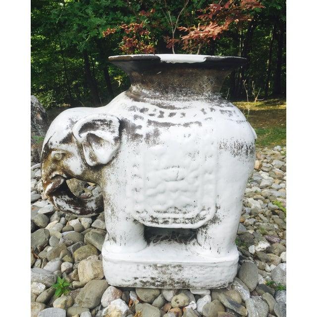 Glazed Ceramic Elephant Garden Stool / Side Table - Image 4 of 7