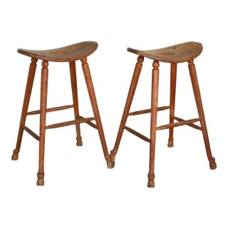 Antique Amish Wooden Saddle Bar Stools - a Pair For Sale