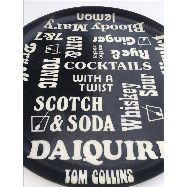 Vintage Black and White Cocktail Themed Tray - Image 3 of 5