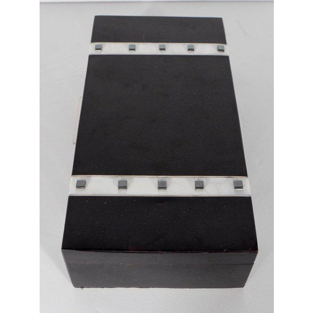 Lacquer Black Lacquer Cracqueleur Box with Kabibi Inlay and Art Deco Square Motif For Sale - Image 7 of 11