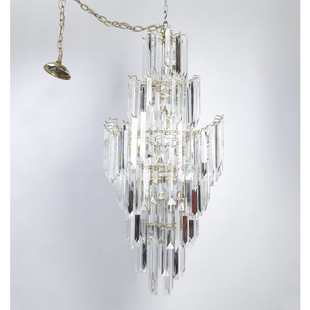 7-Tier Brass & Lucite Chandelier - Image 2 of 11