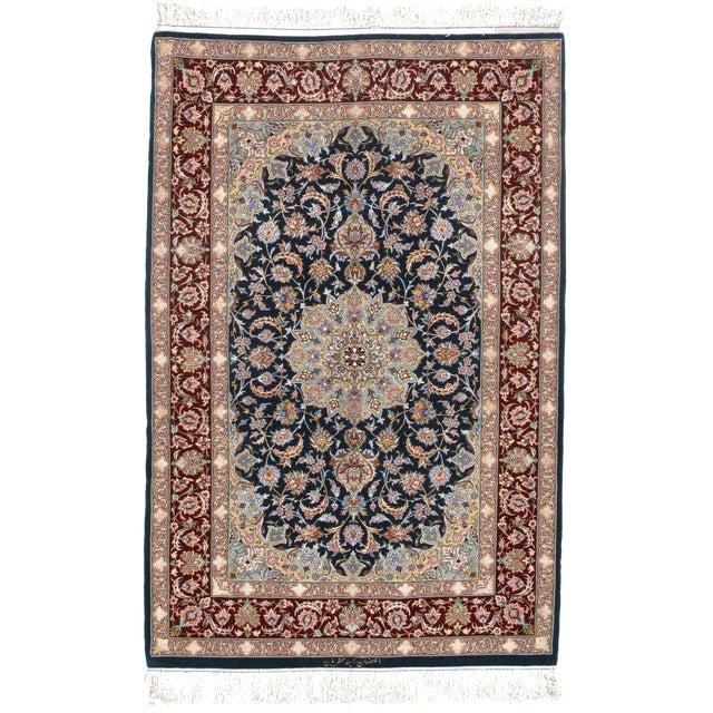 Pasargad Persian Isfahan Korker Wool & Silk Highlighted Rug - 3′8″ × 5′5″ For Sale
