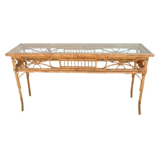 Vintage English Bamboo Sofa Console Table For Sale