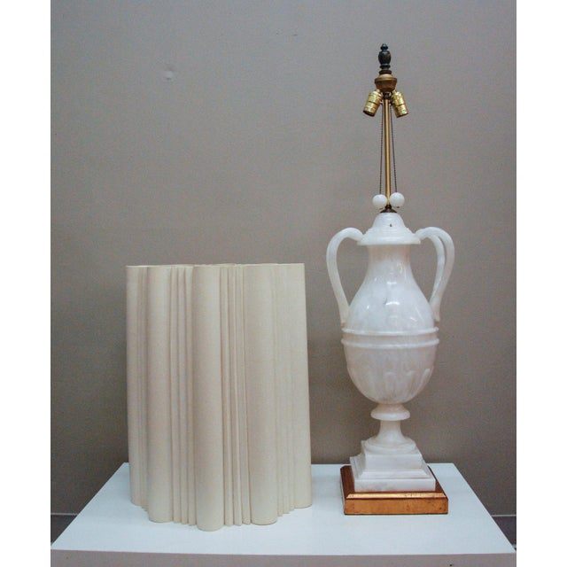 Circa 1950 Hand-Carved Italian Hollywood Regency Alabaster Lamp For Sale In Richmond - Image 6 of 11