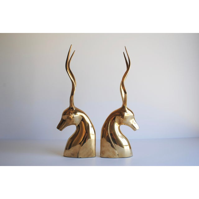 Mid-Century Brass Kudu Bookends - Image 4 of 4