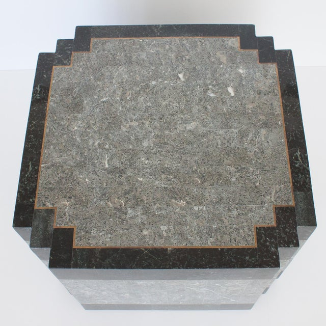 1980's Maitland Smith Tessellated Stone & Brass Side Table For Sale In Chicago - Image 6 of 9