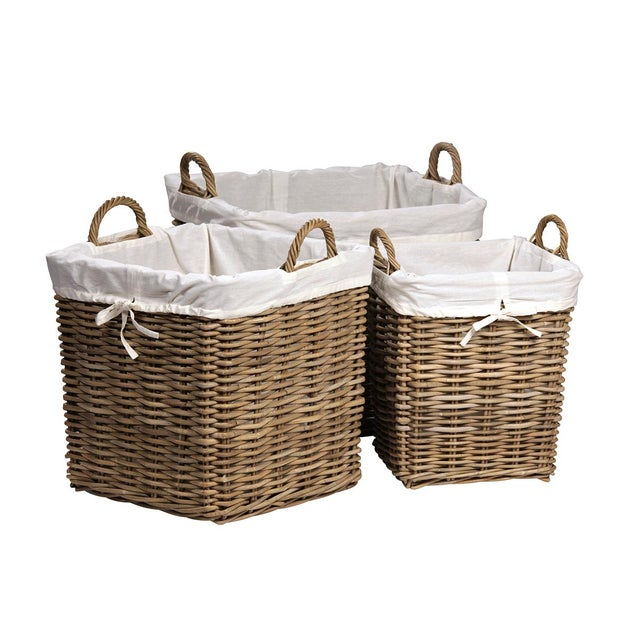 Kubu Woven Square Baskets - Set of 3 For Sale