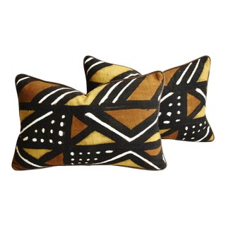 "Boho Chic Malian Tribal Mud-Cloth & Velvet Feather/Down Pillows 21"" X 14"" - Pair For Sale"