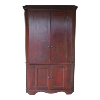 "Antique 19th Century Cherry 1 piece Blind Door Corner Cabinet 85""H x 50""W For Sale"