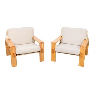 Esko Pajamies Mid Century Beech Lounge Chairs - A Pair