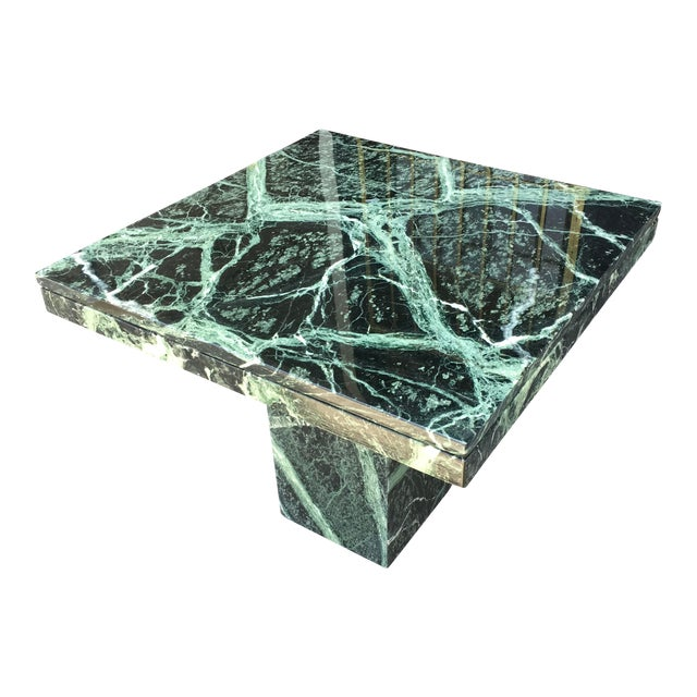 1970s Italian Verde Green Marble Side Table For Sale