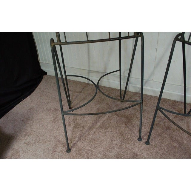 Mid Century Modern Wrought Iron Hairpin Bar Stools - A Pair - Image 8 of 11