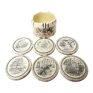 Comoy's Vintage Resin Whaling Ships Comoy Scrimshaw Coasters in Holder - Set of 7 For Sale