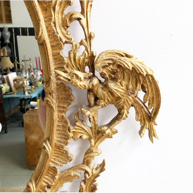 1980s Vintage LaBarge Oval Pagoda Wooden Carved Chinoiserie Gold Gilded Mirror For Sale - Image 5 of 13