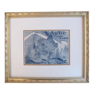 1950 Framed Original French Toulouse Lautrec Print, l'Aube Revue Illustrée For Sale