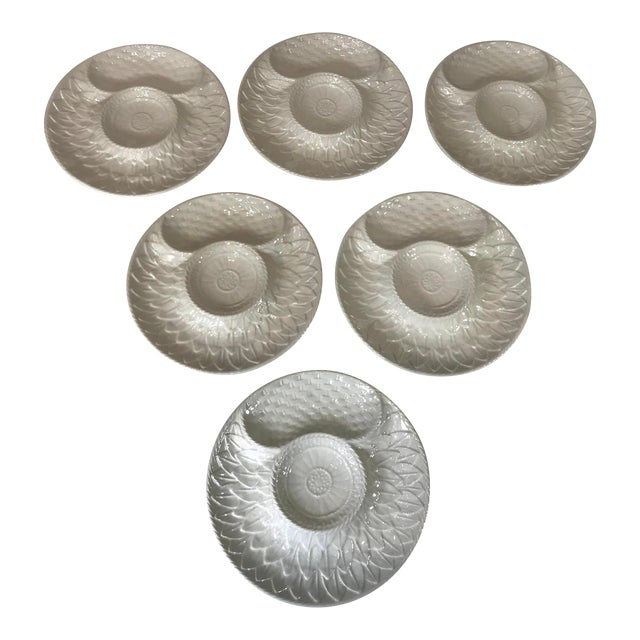 Mid-Century White Portuguese Majolica Oyster/Shrimp Cocktail Plates - Set of 6 For Sale