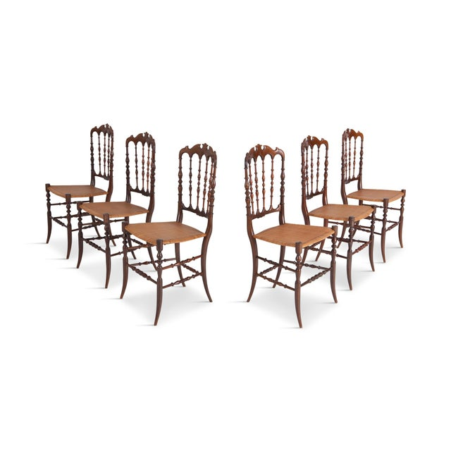 Chiavari Cherrywood & Wicker Dining Chairs After Giuseppe Gaetano Descales For Sale - Image 12 of 12
