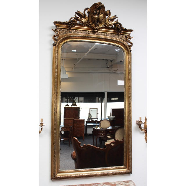 Glass French Federal Gold Gilt Mirror For Sale - Image 7 of 7