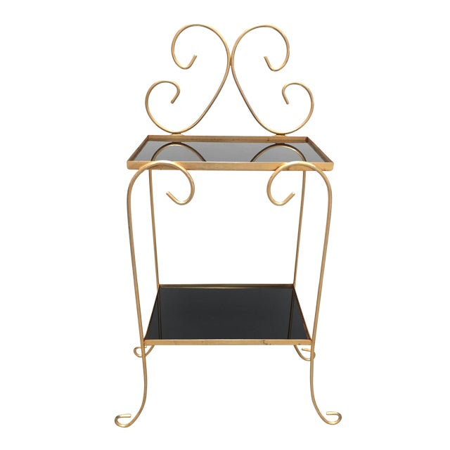 ab2f4125ca080 20th Century French Gilt Metal Side Table With Two-Tier Black Glass Shelves  For Sale
