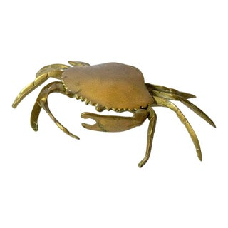Vintage Mid-Century Brass Crab Trinket Box For Sale