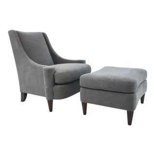 Barbara Barry for Henredon Modern Gray Joan Chair and Ottoman For Sale