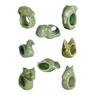Boho Chic Ceramic Green Jade Napkin Rings - Set of 8 For Sale