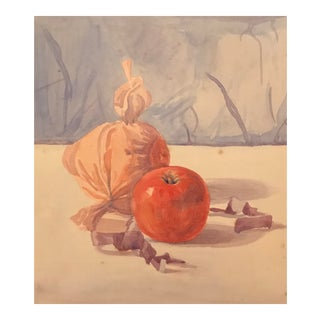 Early 20th Century Vintage Apple Still Life Painting For Sale