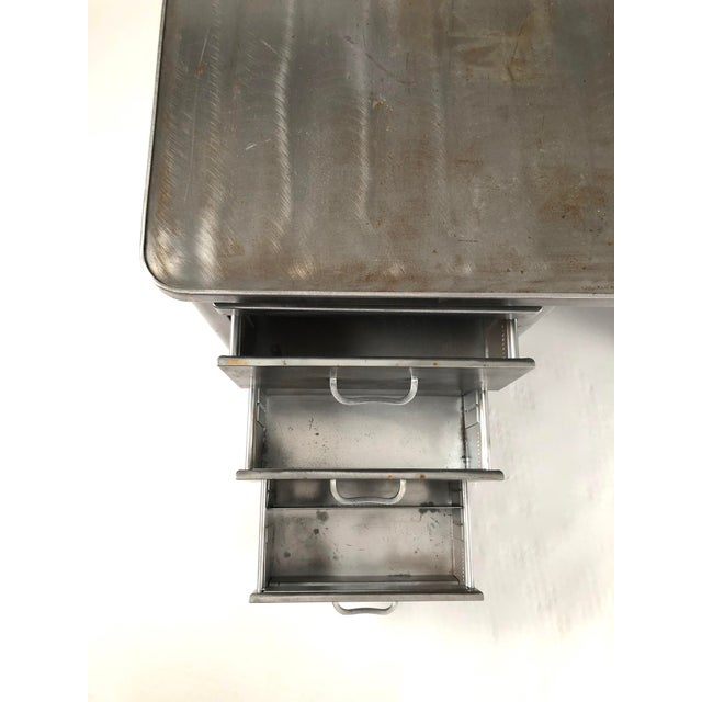 Vintage Steelcase Tanker Desk With Brushed Steel Surface For Sale - Image 10 of 12
