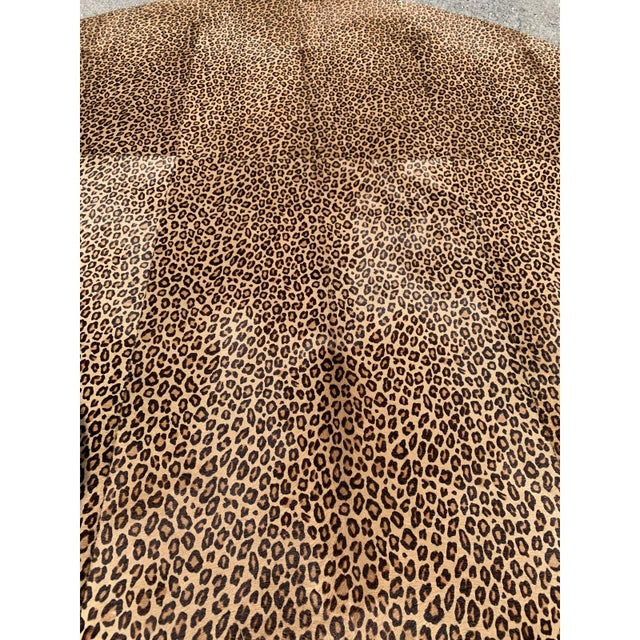 1910s Vintage French Leopard Leather Ottoman Coffee Table, 1910s For Sale - Image 5 of 13