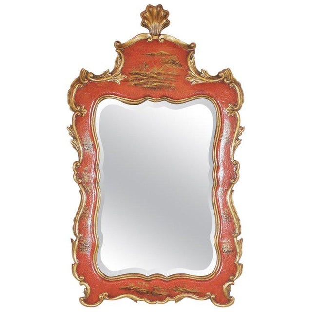 Theodore Alexander Chinoiserie Red Lacquer and Gold Painted Mirror For Sale - Image 11 of 11