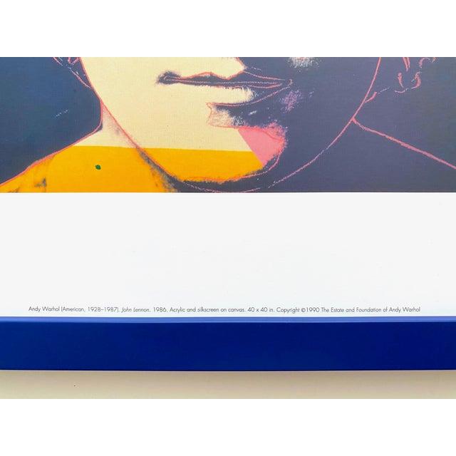 """Navy Blue Andy Warhol Estate Vintage 1990 Framed Pop Art Lithograph Print """" John Lennon """" 1986 For Sale - Image 8 of 13"""