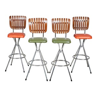 1960s Wood & Vinyl Bar Stools, Set of 4 For Sale
