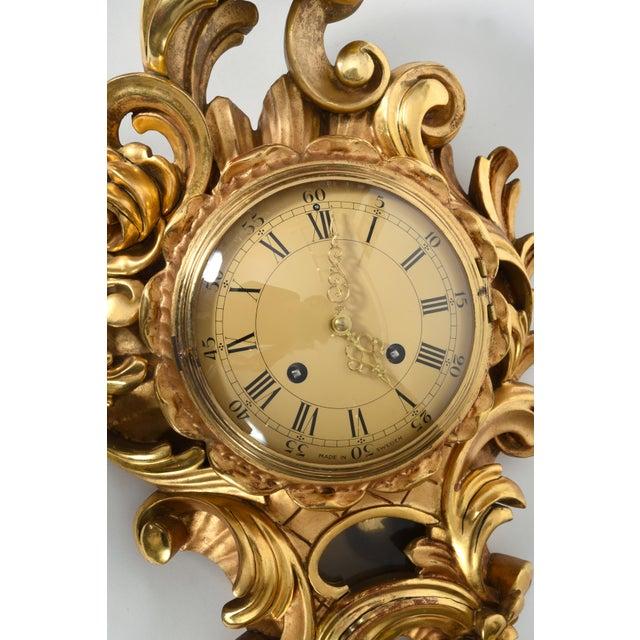 Vintage Swedish Gilt Wood Framed Wall Cartel Clock For Sale - Image 4 of 8
