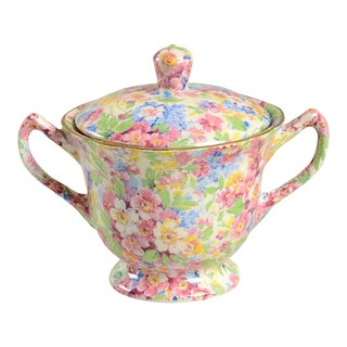 James Kent (England) Apple Blossom Chintz Sugar Bowl & Lid For Sale