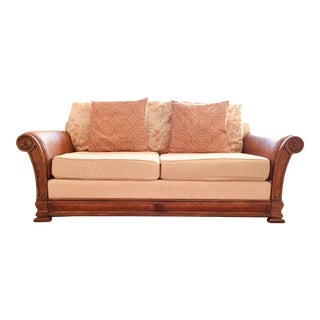 Tommy Bahama Style Solid Wood Upholstered Sofa - Honey Beige For Sale
