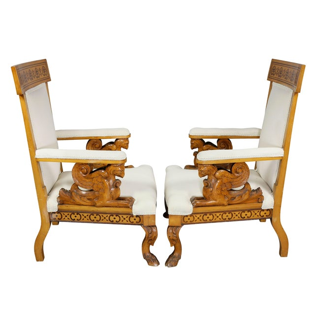 Brown Pair of Italian Neoclassical Maple Armchairs Attributed Pelagio Palagi For Sale - Image 8 of 11